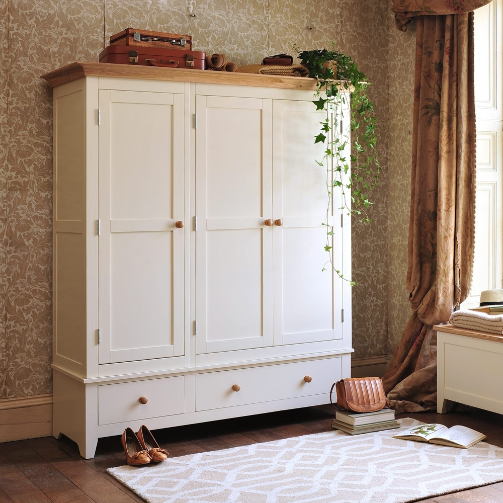 The Cotswold Inside 2017 Cream Triple Wardrobes (View 14 of 15)