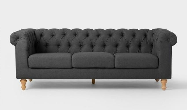 The Perfect Inexpensive Gray Tufted Sofa – Lovely Etc (View 14 of 15)