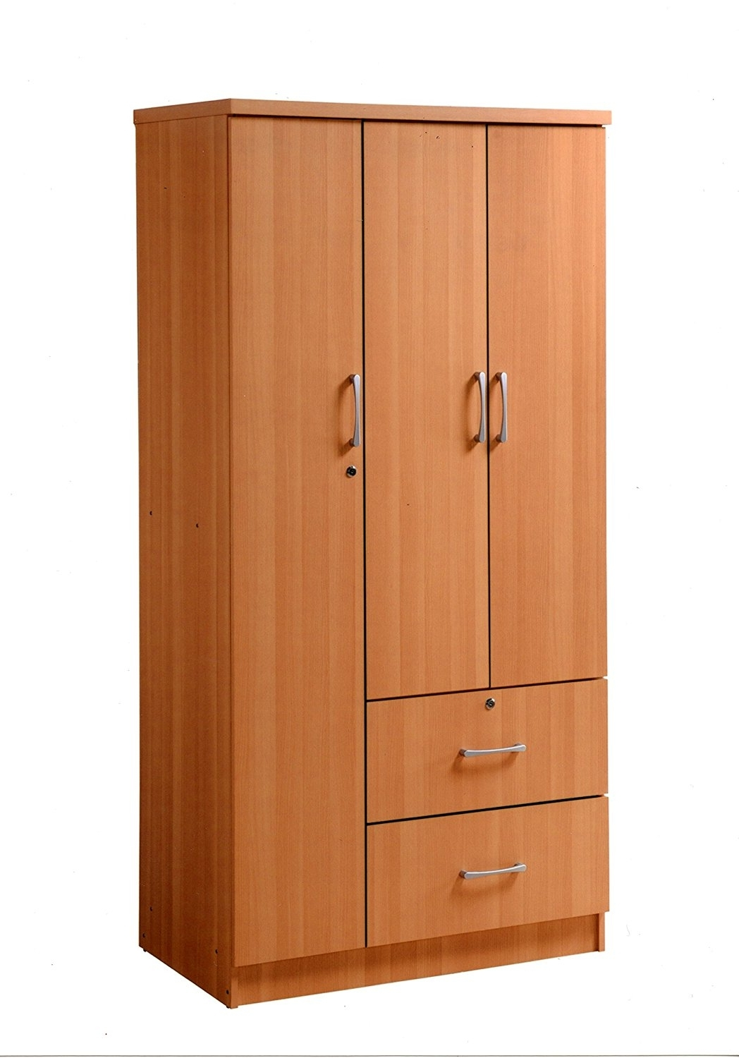 Three Door Wardrobes With Mirror Intended For Most Popular Amazon: Hodedah Import 3 Door Wardrobe, Black: Kitchen & Dining (View 9 of 15)
