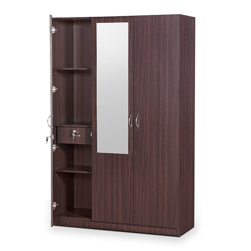 Three Door Wardrobes With Mirror With Regard To Best And Newest Hometown Allen 3 Door Wardrobe With Mirror (walnut): Amazon (View 11 of 15)