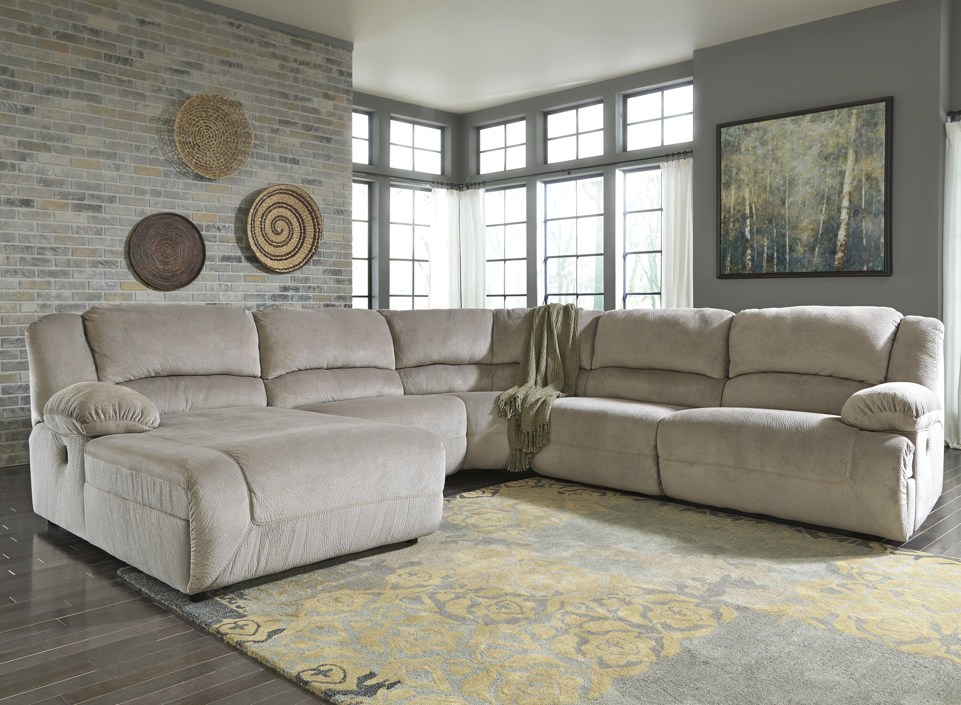 Toletta – Granite Power Reclining Sectional With Chaise Inside Famous Sectional Sofas With Recliners And Chaise (View 15 of 15)