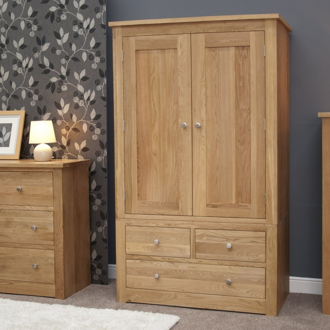 Torino Solid Oak Gents 2 Door Double Wardrobe (View 14 of 15)