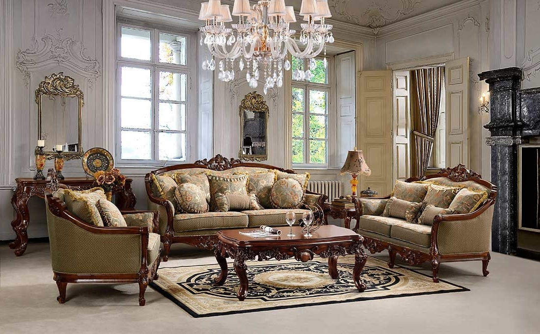 Traditional Chenille Fabric Sofa Hd (View 3 of 10)