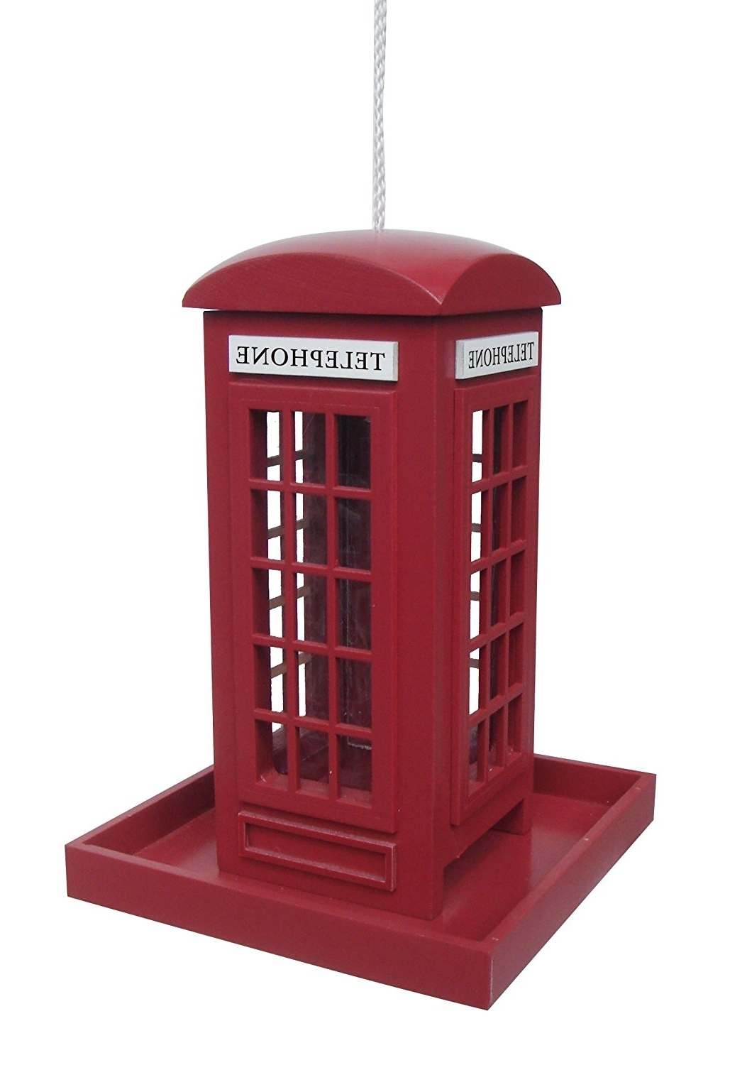 Traditional Red Telephone Phone Box Hanging Bird Feeder: Amazon (View 13 of 15)