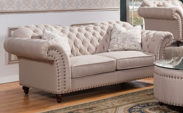 Traditional Sweetheart Button Tufted Sofa In Beige Linen Intended For Newest Tufted Linen Sofas (View 2 of 10)