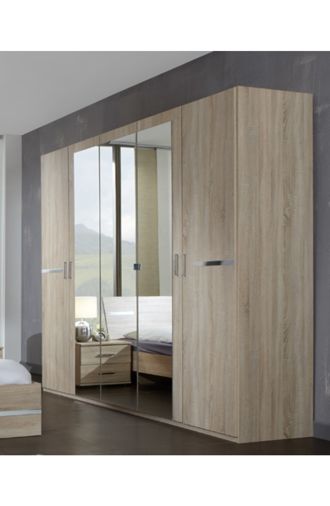 Trendy 5 Door Wardrobes Within Slumberhaus 'anna' Modern Light Oak 225Cm 5 Door Wardrobe (View 8 of 15)