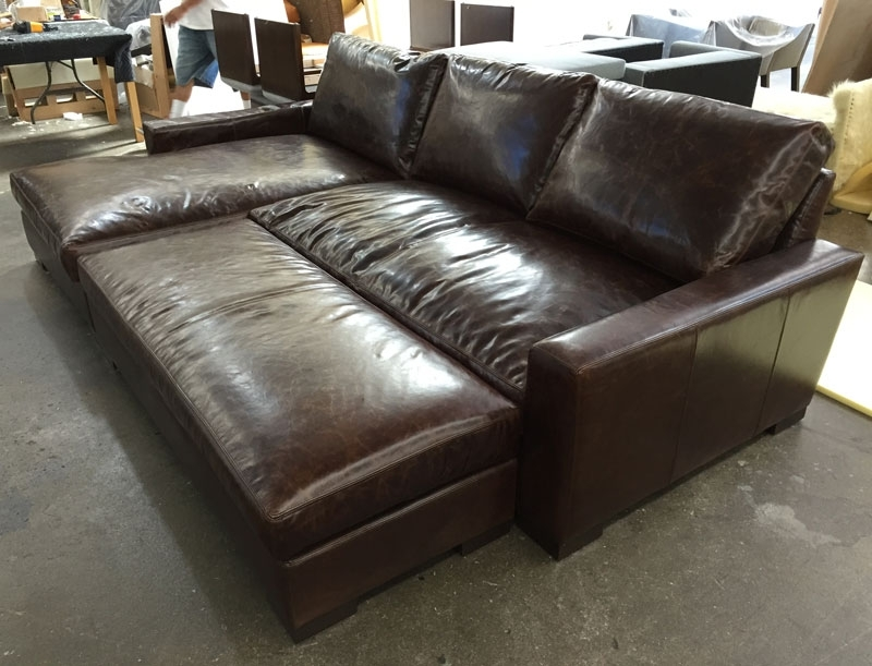Trendy Braxton Leather Sofa Chaise Sectional In Brompton Cocoa Mocha  Pertaining To Braxton Sofas (Gallery