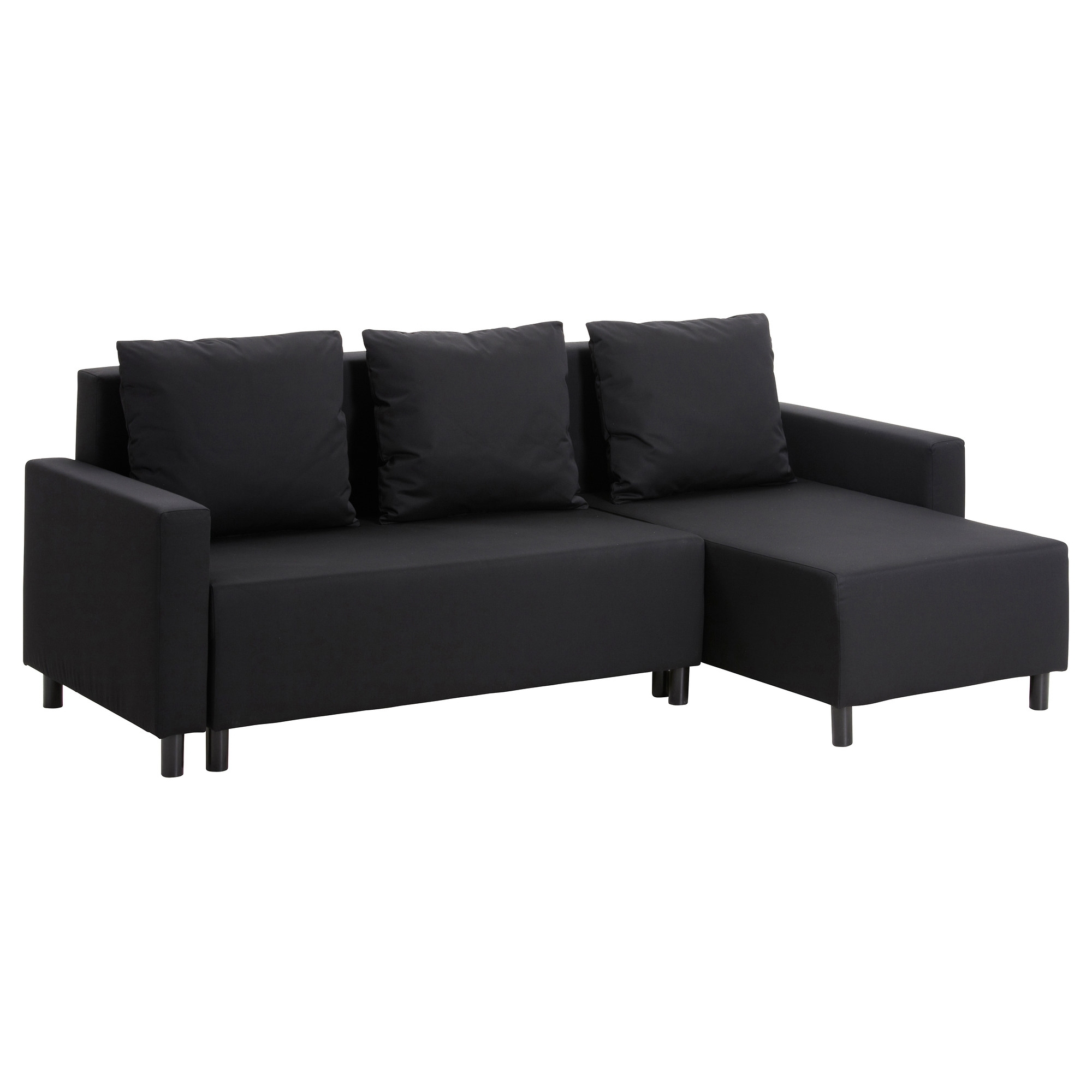 Trendy Chaise Lounge Sofa Beds In Lugnvik Sofa Bed With Chaise Lounge – Granån Black – Ikea (View 10 of 15)