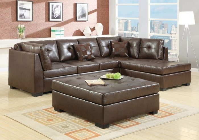 Trendy Coaster 500686 Darie Brown Sectional Sofa With Ottoman Within Sectional Sofas With Ottoman (View 13 of 16)