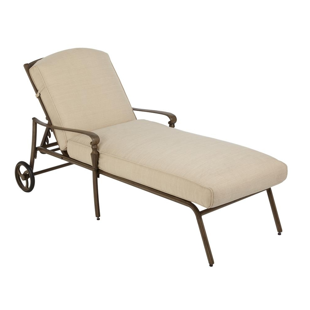Trendy Hampton Bay Cavasso Metal Outdoor Chaise Lounge With Oatmeal Pertaining To Wooden Chaise Lounges (View 10 of 15)
