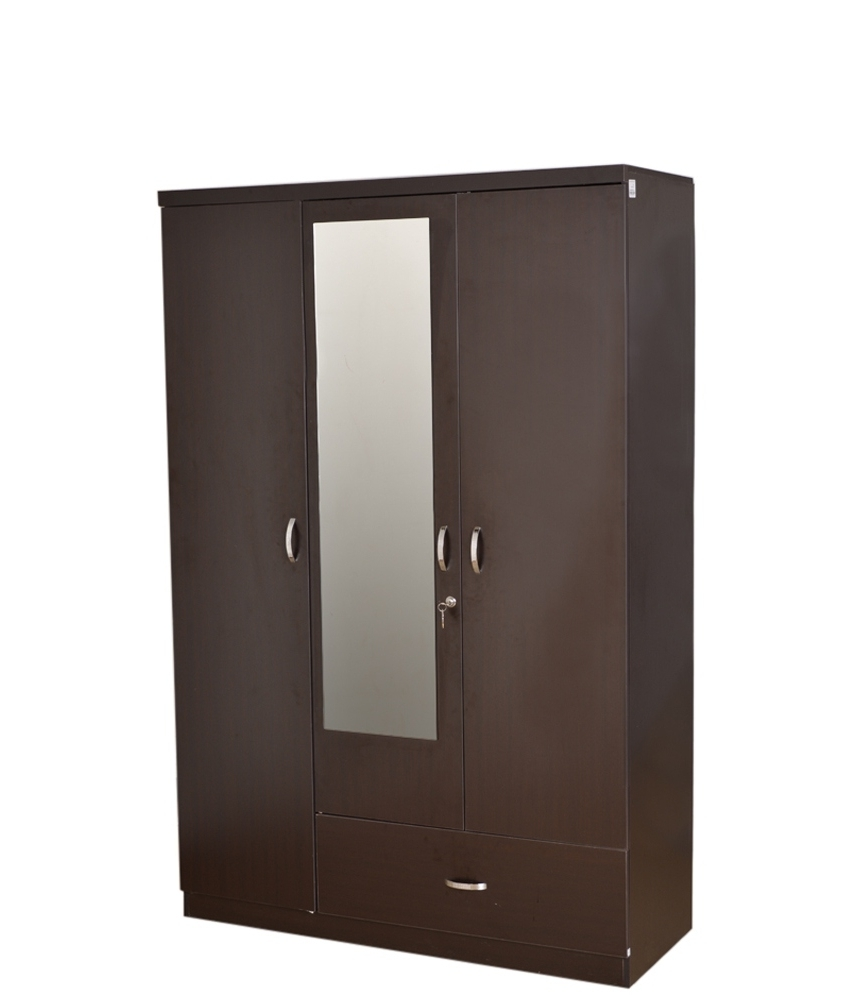Trendy High Quality Three Door Mirror Wooden Wardrobe Designs With Lock With 3 Door Wardrobes (View 9 of 15)
