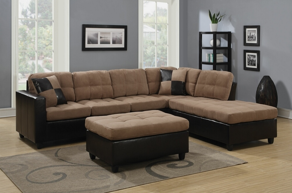 Trendy Leather And Suede Sectional Sofas With Coaster 505675 2 Pc Mallory Collection 2 Tone Tan Microfiber (View 2 of 10)