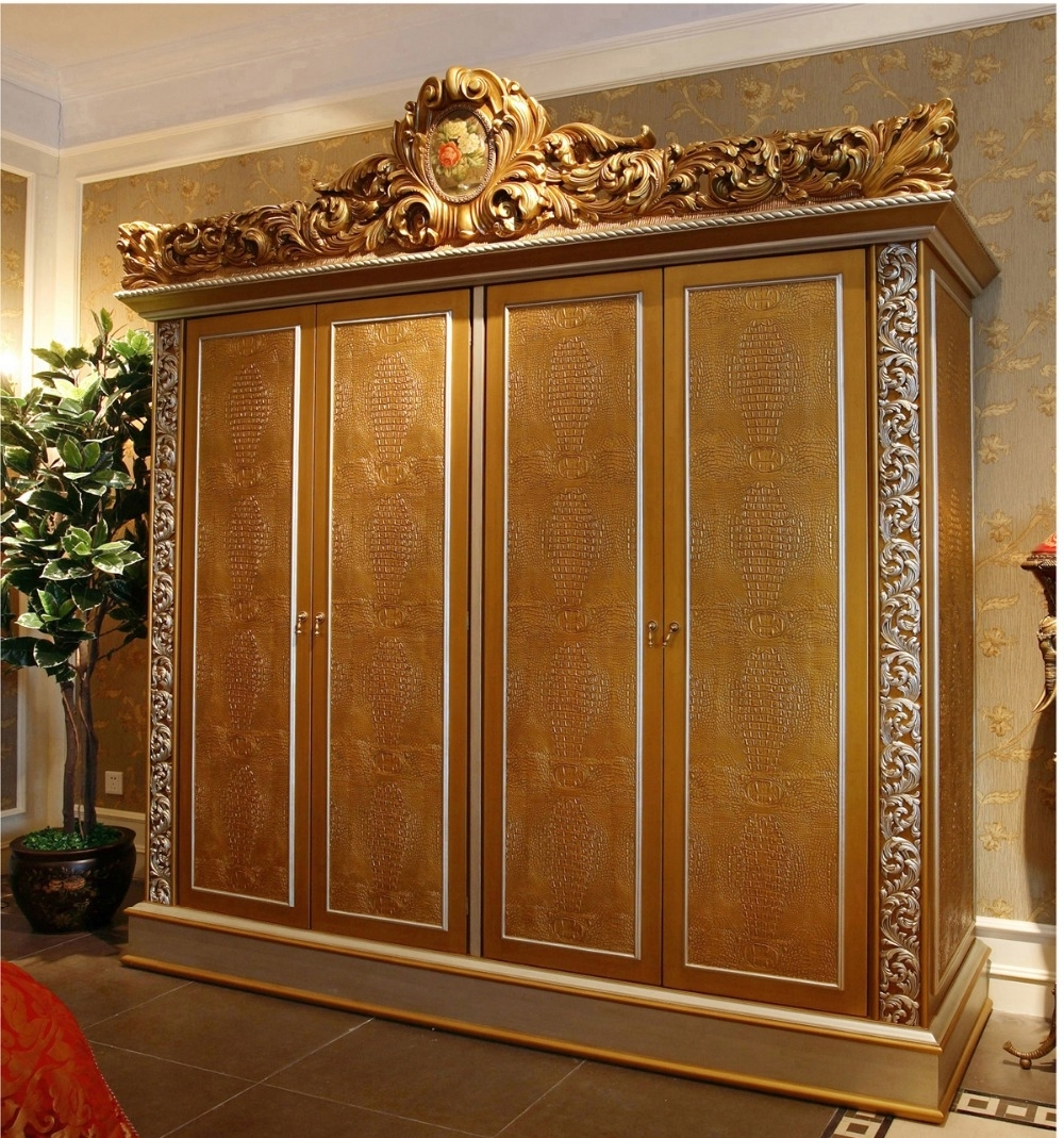 Trendy Luxury French Rococo Style Golden Four Door Wardrobe Cabinet With Rococo Wardrobes (View 13 of 15)