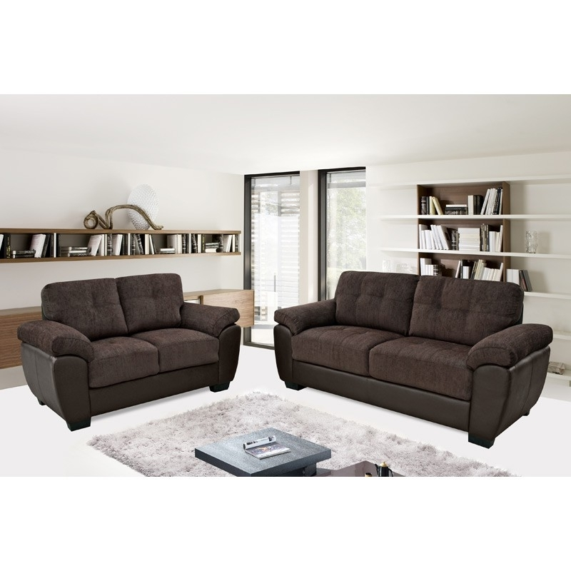 Trendy Newport Chocolate Brown Chenille Fabric & Leather Match Sofa For Newport Sofas (View 8 of 10)