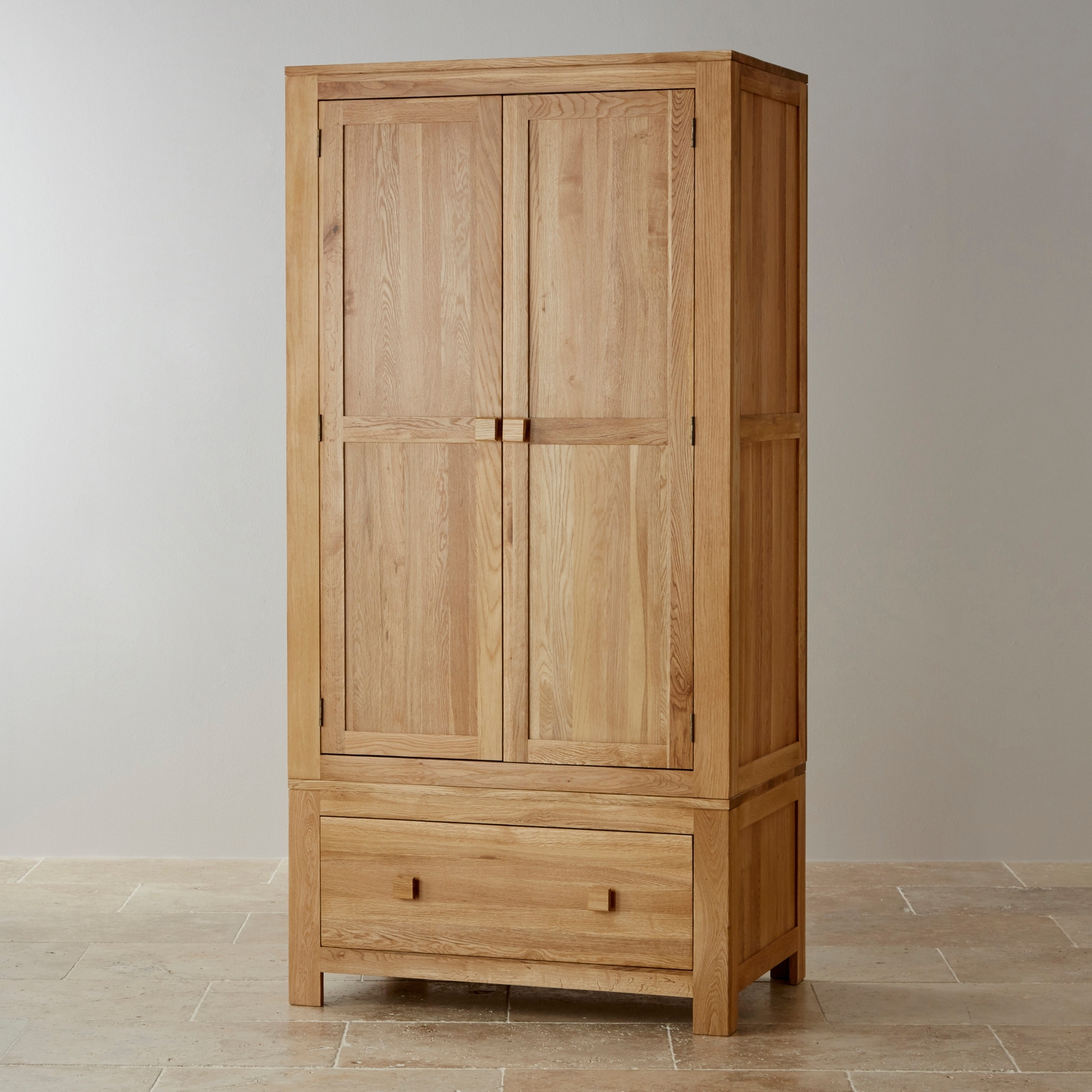 Trendy Oakdale Natural Solid Oak Double Wardrobe (View 2 of 15)