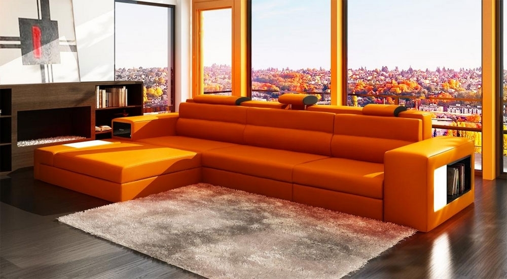 Trendy Orange Leather Sectional Polaris Mini (View 1 of 10)