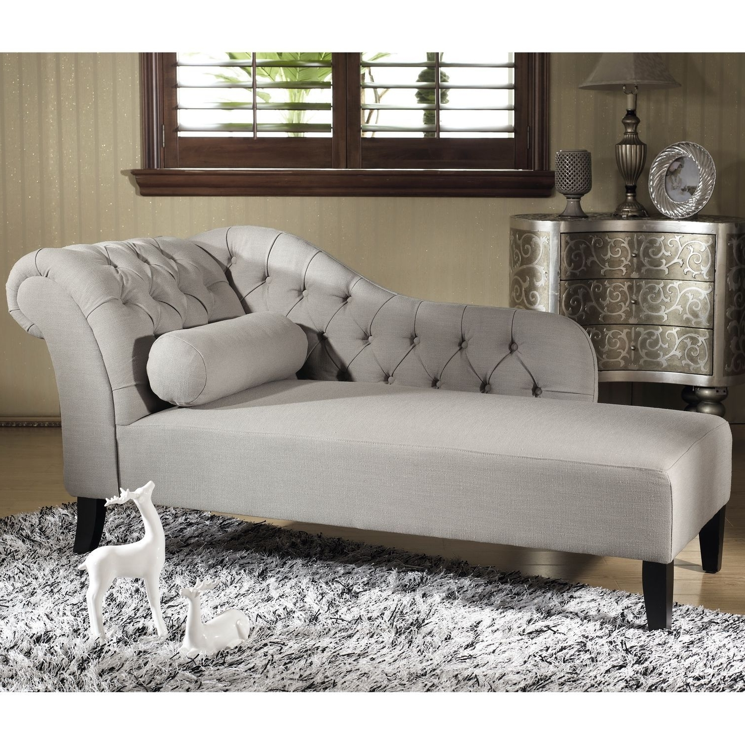 Trendy Overstock Chaise Lounges In Baxton Studio 'aphrodite' Tufted Putty Gray Linen Modern Chaise (View 13 of 15)