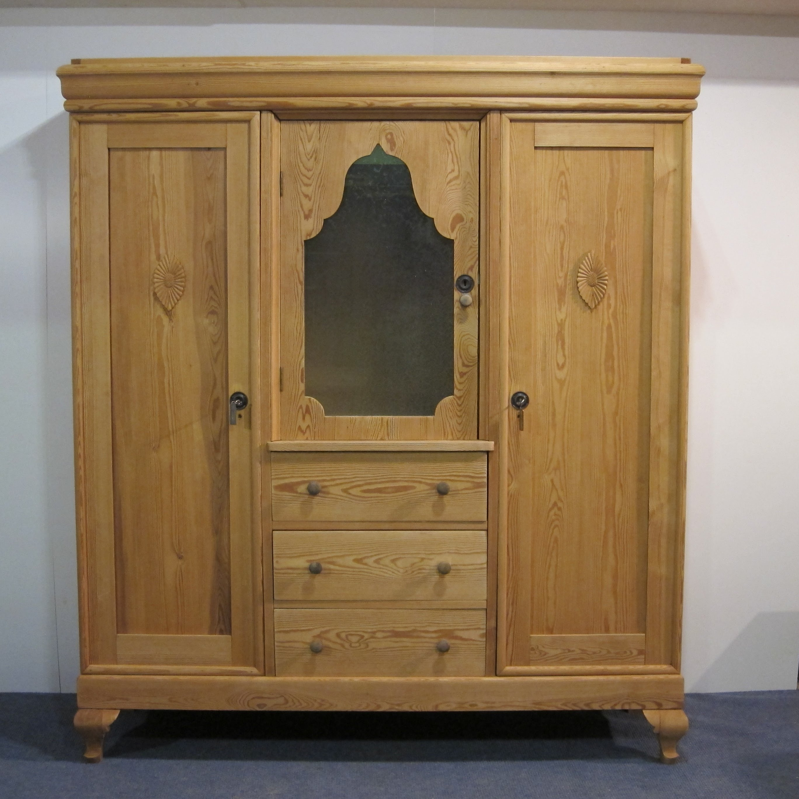 Trendy Pine Wardrobes With Drawers Intended For Large Antique Pine Wardrobe Unit With Drawers – Pinefinders Old (View 13 of 15)