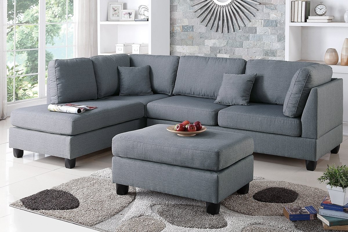 Trendy Poundex F7606 3 Pcs Grey Fabric Reversible Chaise Sectional Sofa Set With Regard To Sectionals With Reversible Chaise (View 15 of 15)