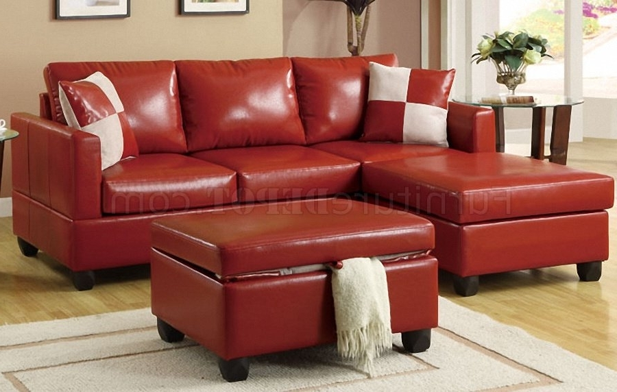 Trendy Red Bonded Leather Contemporary Small Sectional Sofa W/ottoman With Regard To Red Leather Sectional Sofas With Ottoman (View 10 of 10)