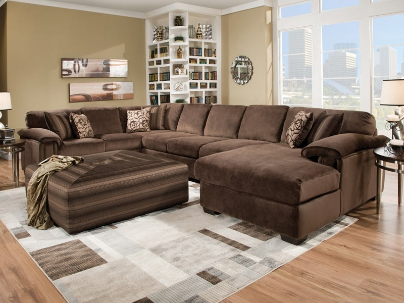 Trendy Sofa : Beautiful Large Sectional Sofa With Chaise L Shaped Cream In Sectionals With Chaise And Ottoman (View 10 of 10)