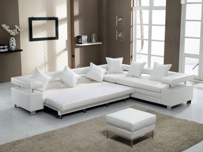 Trendy Sofa : Black Leather Modern Sectional Sofa Sleeper With Ottoman With Sectional Sleeper Sofas With Ottoman (View 9 of 10)