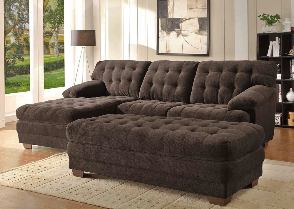 Trendy Sofas With Chaise And Ottoman Inside Chocolate Microfiber Sectional Sofa (View 9 of 10)