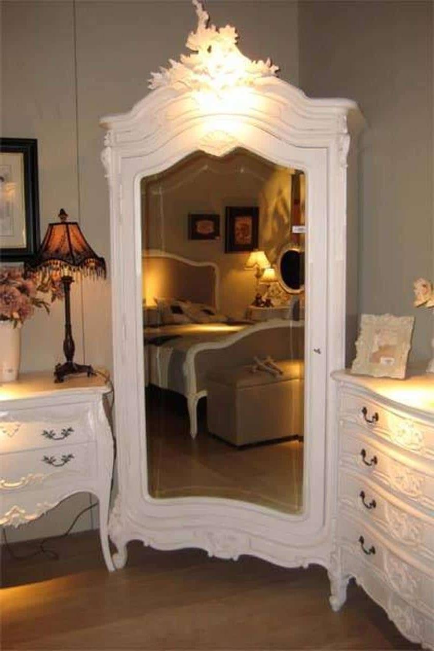 Trendy White Corner French Armoire Wardrobe With Mirror : Beautiful Inside French Armoire Wardrobes (View 14 of 15)