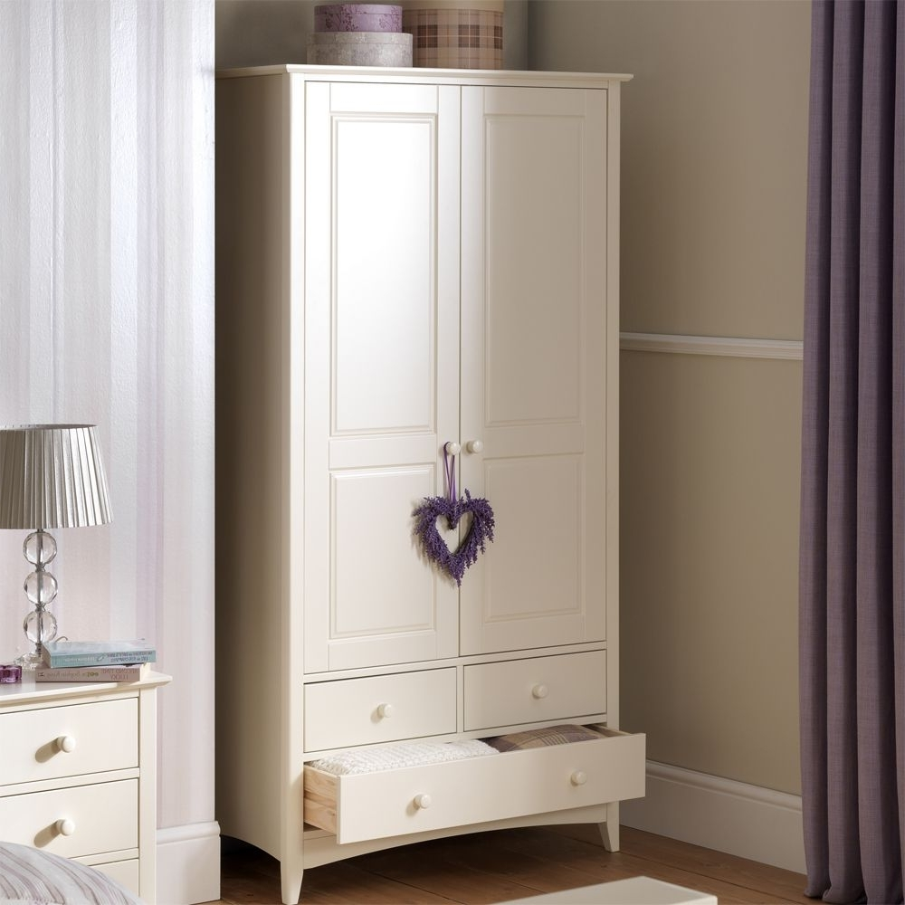 Trendy White Double Wardrobes For Combination Wardrobe With 3 Drawers (View 9 of 15)