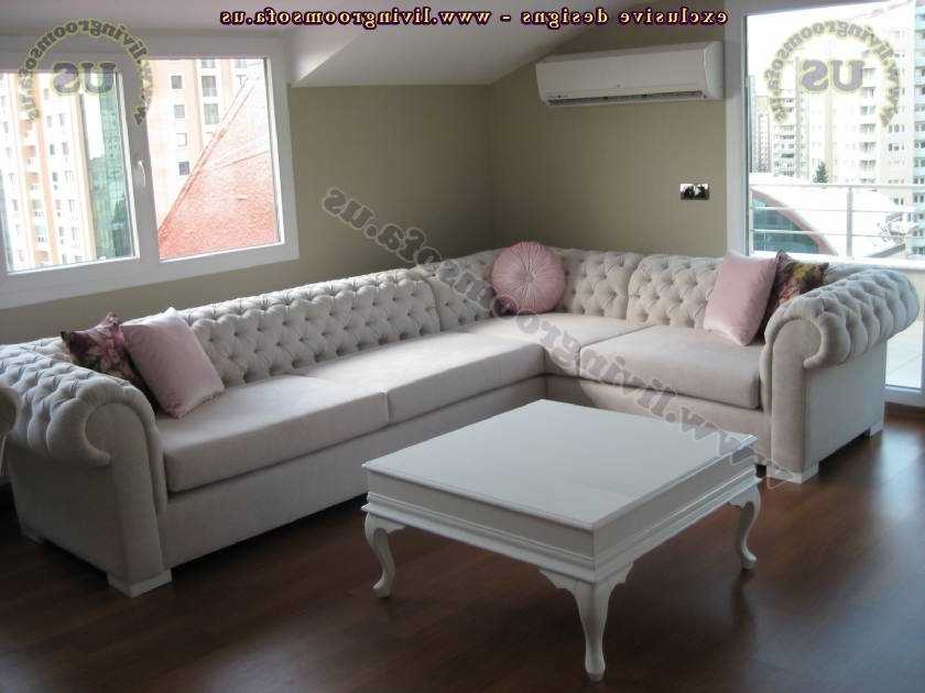 Trendy White Elegant Chesterfield Sectional Sofa – Exclusive Design Ideas Pertaining To Elegant Sectional Sofas (View 10 of 10)