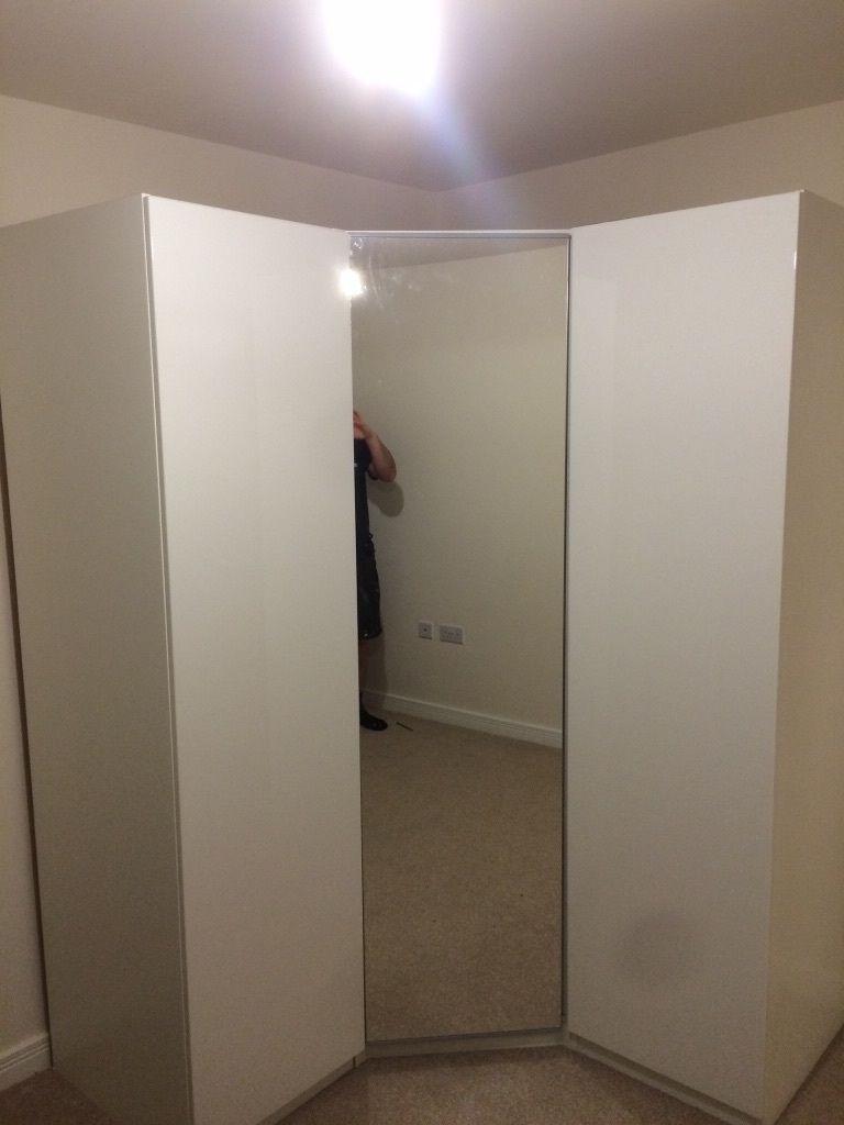 Trendy White High Gloss Ikea Corner Wardrobe With Mirrored Door (View 6 of 15)