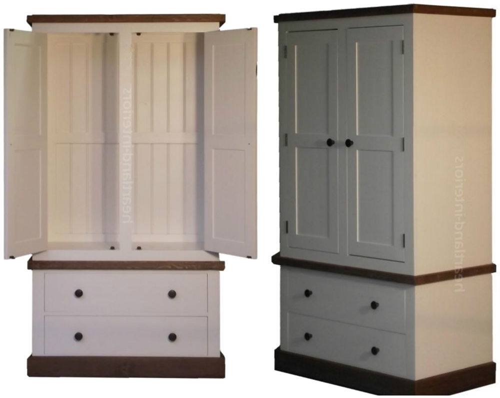 Trendy White Painted Wardrobes Pertaining To White Painted & Waxed 2 Door Double Wardrobe With Drawers, Gents (View 7 of 15)