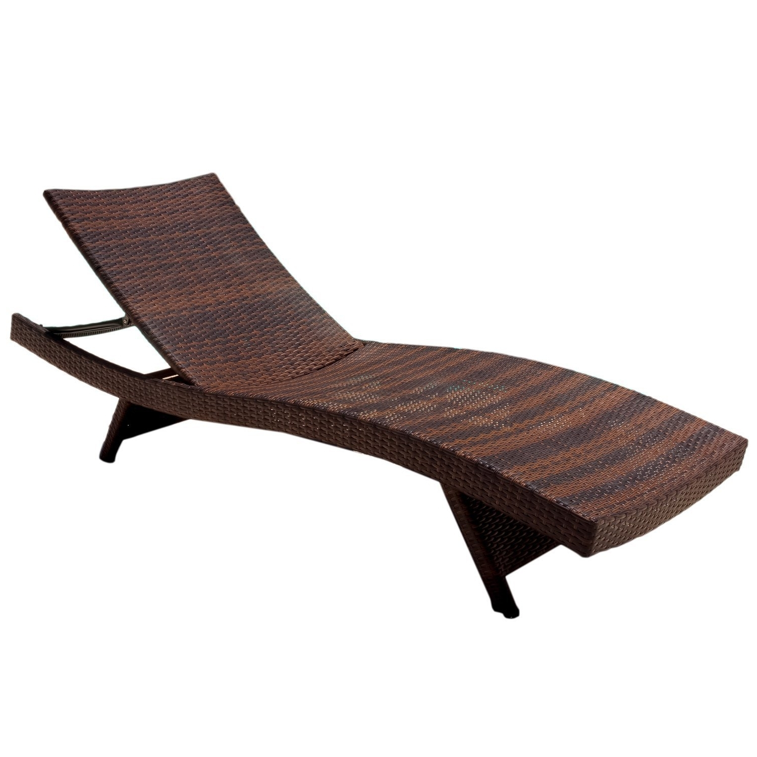 Trendy Wicker Chaise Lounge Chairs Inside Amazon : Best Selling Outdoor Adjustable Wicker Lounge, Brown (View 9 of 15)