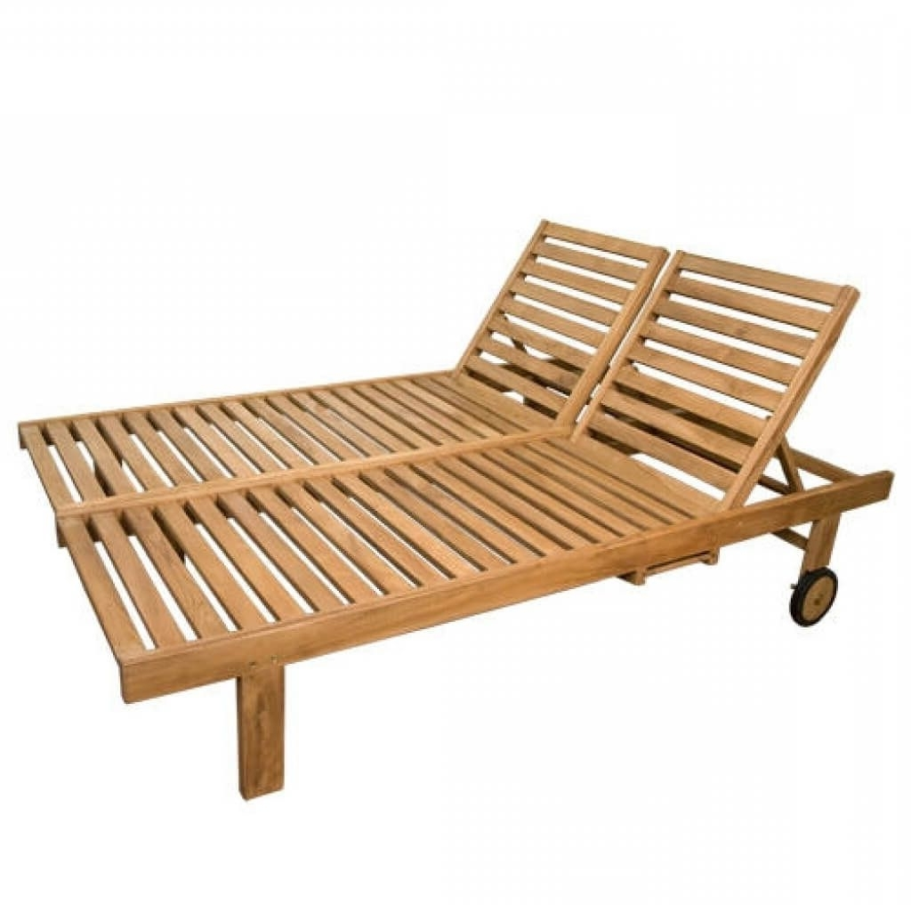 Trendy Wooden Outdoor Chaise Lounge Chairs Inside Furniture: Solid Wood Double Outdoor Chaise Lounge Design With One (View 10 of 15)