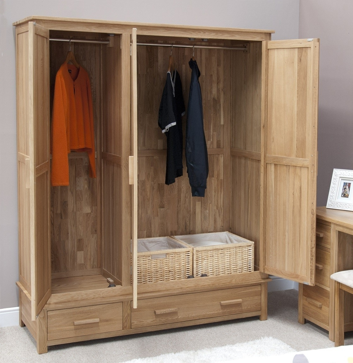 Triple Door Wardrobes In Newest Opus Solid Oak 3 Door Triple Wardrobe (View 11 of 15)