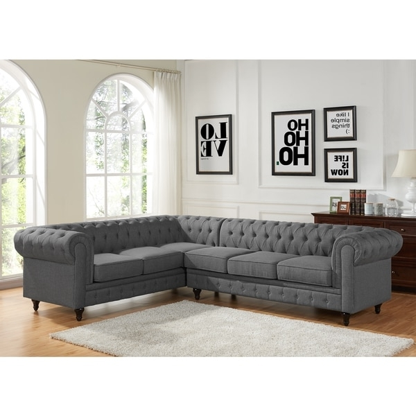 Tufted Sectional Sofas With Chaise Throughout 2018 Sophia Modern Style Tufted Rolled Arm Left Facing Chaise Sectional (View 8 of 10)