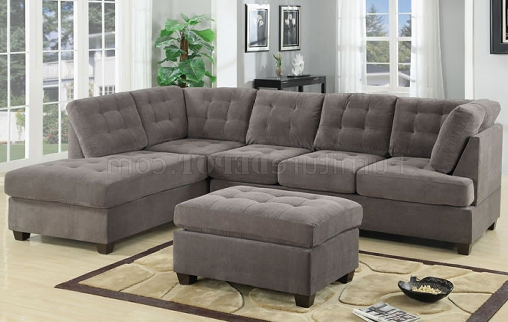 Tufted Sectional Sofas With Chaise Throughout Trendy F7139 Reversible Tufted Sectional In Charcoal Suedepoundex (View 9 of 10)