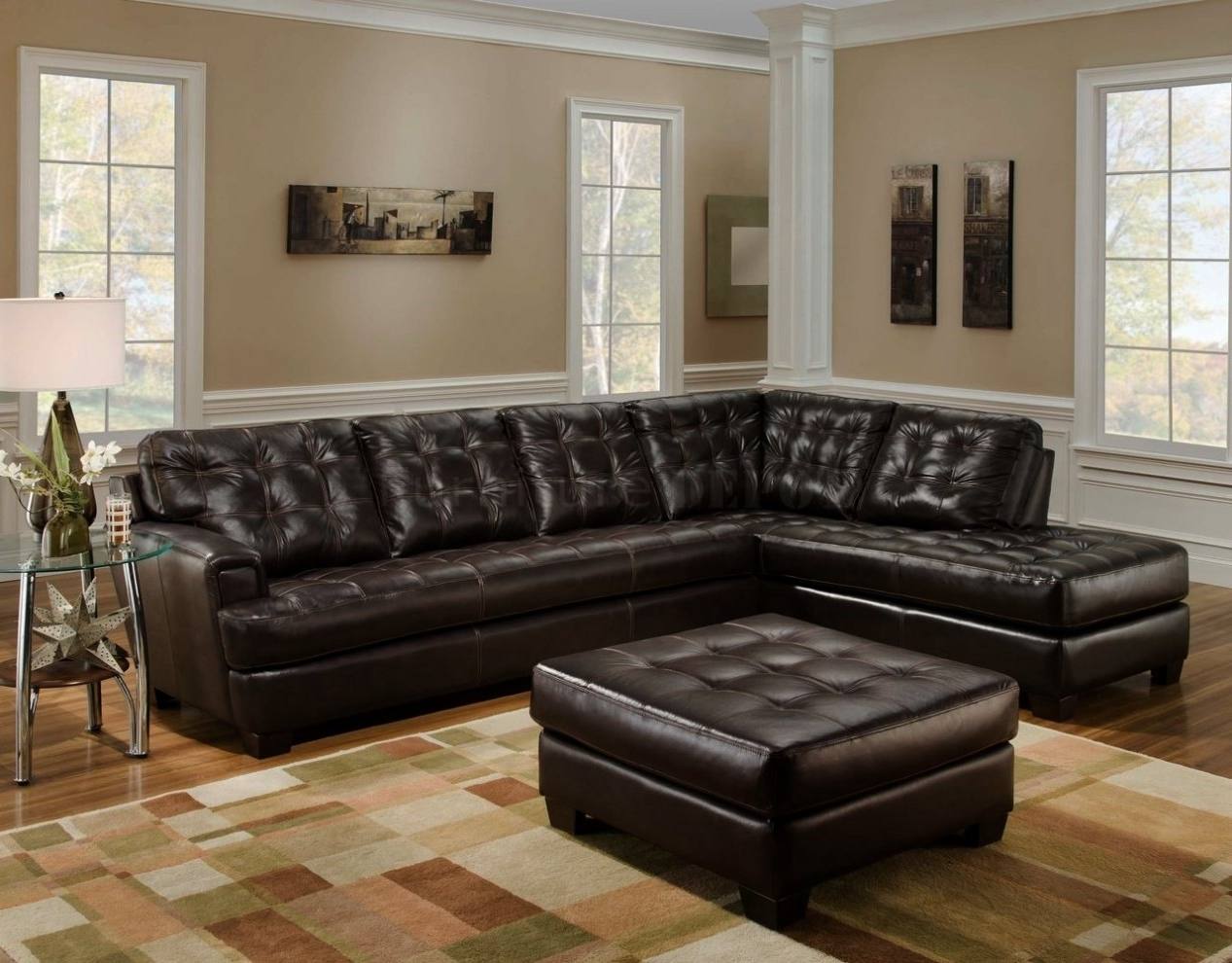 Tufted Sectionals With Chaise Throughout 2018 Dark Brown Leather Tufted Sectional Chaise Lounge Sofa With (View 4 of 15)