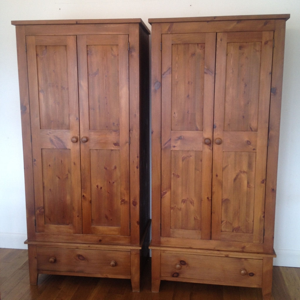 Two Soild Victorian Style Pine Wood Wardrobes With Bottom Draws In Favorite Victorian Style Wardrobes (View 8 of 15)