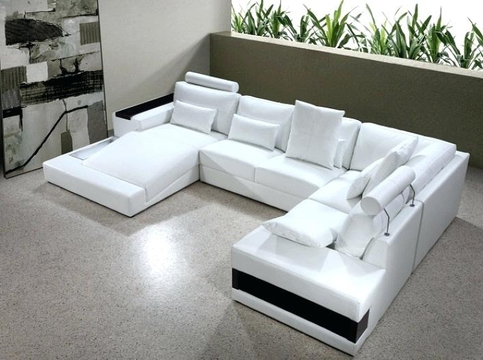 U Shaped Couch Diamond Modern White Leather U Shaped Sectional Intended For Current Modern U Shaped Sectionals (View 7 of 10)