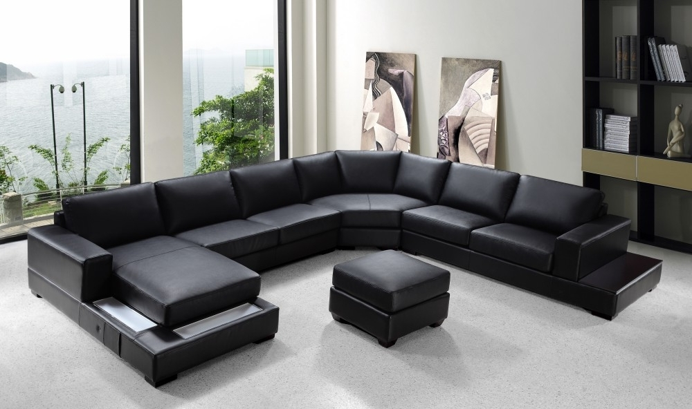 "U Shaped Leather Sectional Sofas With Most Recent Modern Black Leather ""u"" Shaped Sectional (Gallery 3 of 10)"