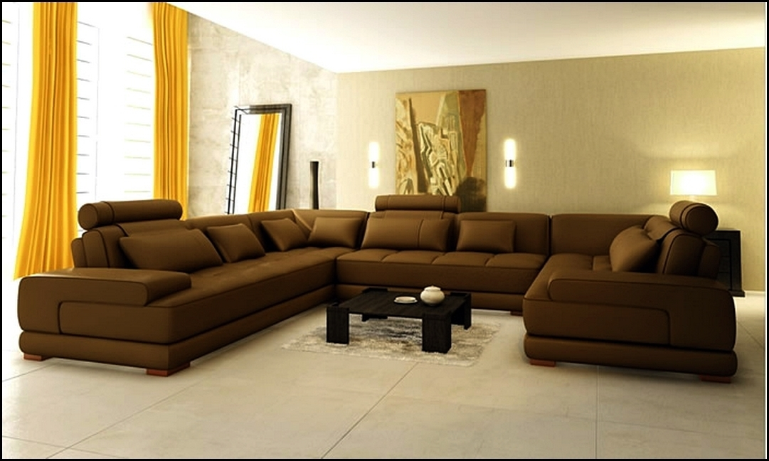 U Shaped Leather Sectional Sofas With Regard To Well Known Extra Large Leather Sectional Sofa With Yellow Curtains And Marble (View 9 of 10)