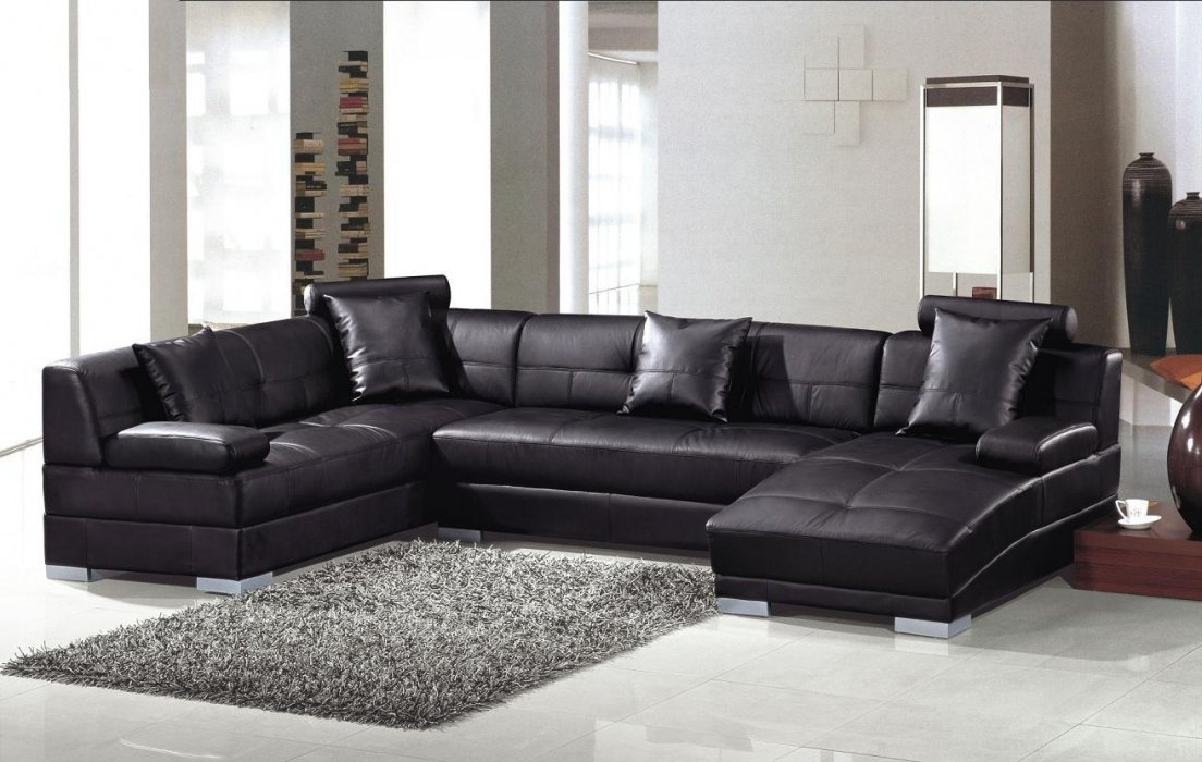 U Shaped Spacious Black Leather Sectional Sofa Texas – $2, (View 10 of 10)
