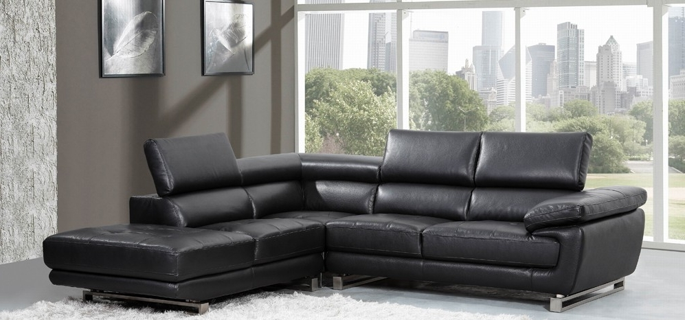 Valencia Corner Midnight Black H8582Rhf – Leather Corner Sofas – Sofas Throughout Famous Leather Corner Sofas (View 9 of 10)