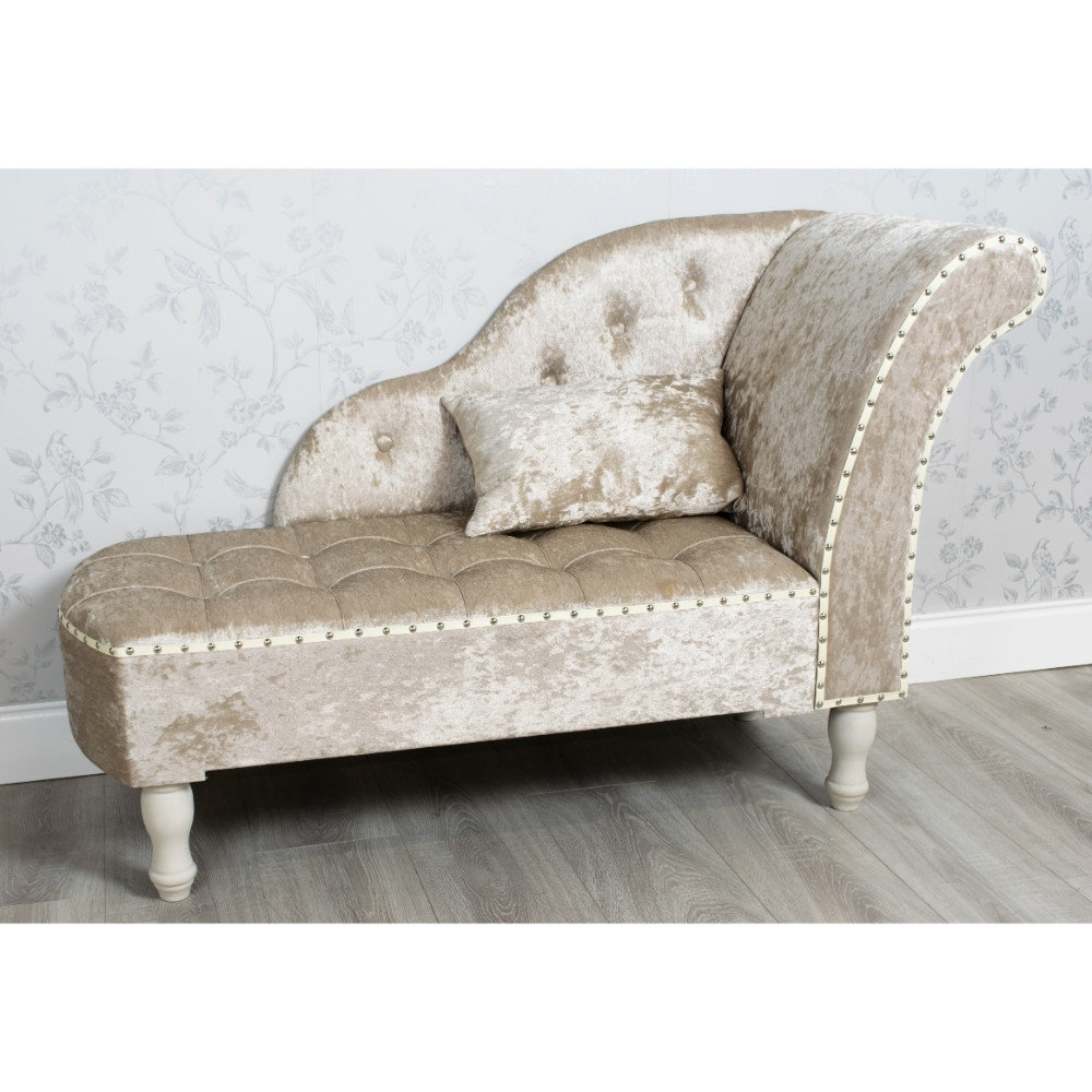 Velvet Chaise Lounges Intended For Famous Crushed Velvet Chaise Lounge Beige – Allens (View 11 of 15)