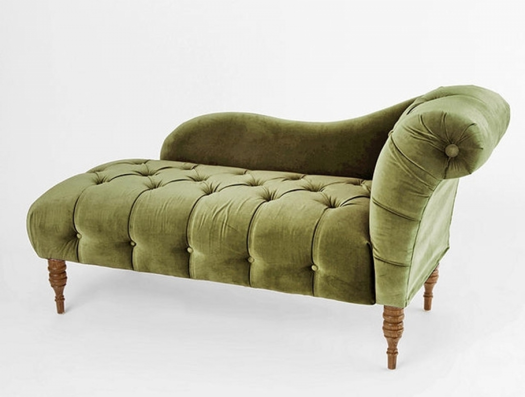 Velvet Chaise Lounges Regarding 2017 Green Chaise Lounge Edie Velvet Victorian Indoor Of With Pictures (Gallery 9 of 15)