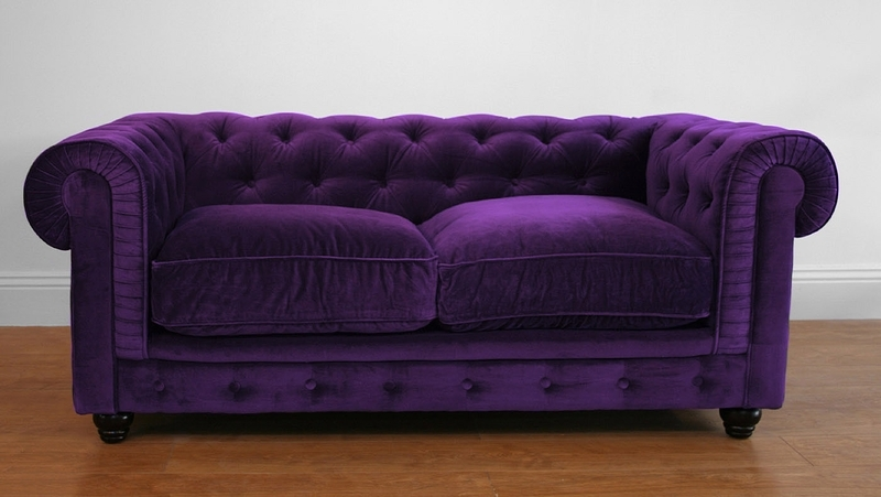 Velvet Chesterfield Two Seat Sofa In Rich Deep Purple (View 5 of 10)