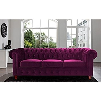 Velvet Purple Sofas Intended For Well Known Amazon: Divano Roma Furniture Velvet Scroll Arm Tufted Button (Gallery 9 of 10)