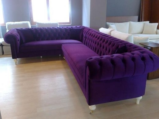 Velvet Purple Sofas Intended For Well Known Sofa : Glamorous Purple Velvet Tufted Sofa Enchanting Also Couch (View 8 of 10)