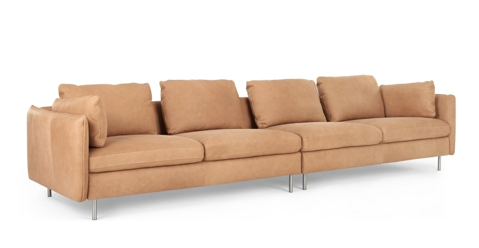 Vento 4 Seater Sofa, Tan Leather (View 10 of 15)